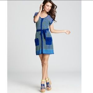 Nanette Lepore Heartbeat Knit Dress Green Blue